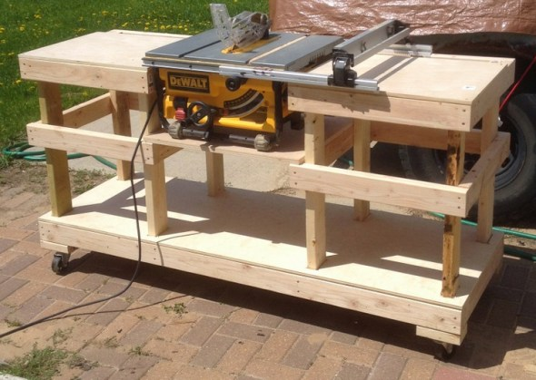 6 DIY Table Saw Stations for a Small Workshop - Table Saw Stand on Casters by The Wolven House Project