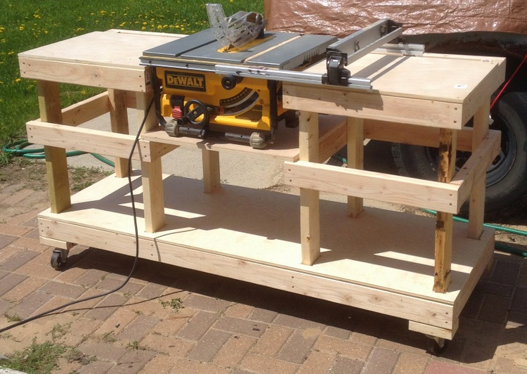 Ordinaire 6 DIY Table Saw Stations For A Small Workshop   Table Saw Stand On Casters  By