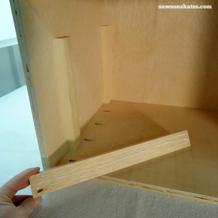 DIY Mid-Century Modern Nightstand - drawer supports 1