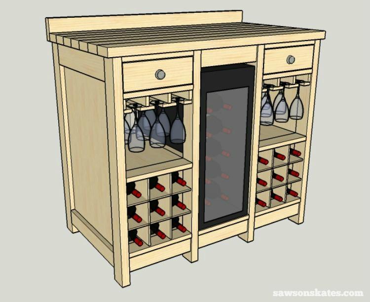 how to build liquor cabinet over wine fridge