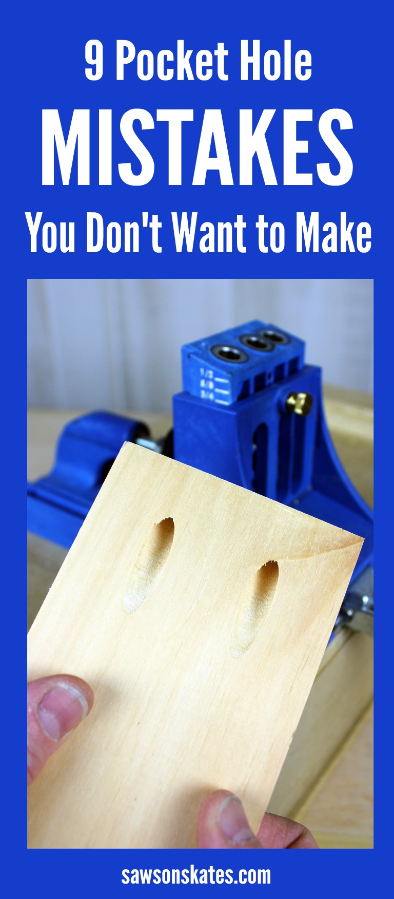 Want to know how to use a Kreg Jig? You've come to the right place! This tutorial gives tips for avoiding mistakes when drilling pocket holes. Great ideas to follow when building plans for DIY furniture projects! #kregjig #woodworkingtips
