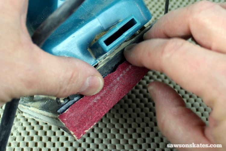 3 Tips Why You Should NEVER Use a Palm Sander - you need to cut sheets of sandpaper down to fit a palm sander and getting the paper in the sander is a challenge