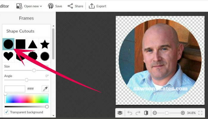 How to create a round bio photo for your blog in 3 easy steps - select shape cutouts and then the circle