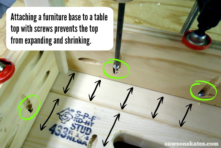 Check out these building tips about how to prevent your DIY wood furniture from cracking - furniture bases screwed to table tops don't allow for movement and can crack