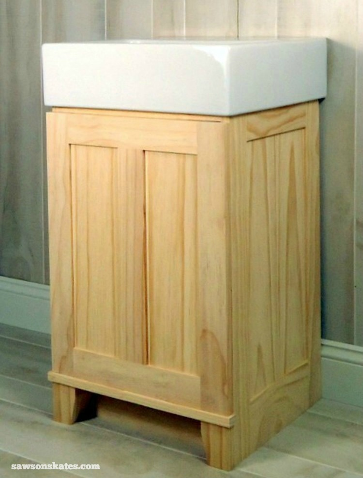 Check out the plans for this small DIY vanity. Original design