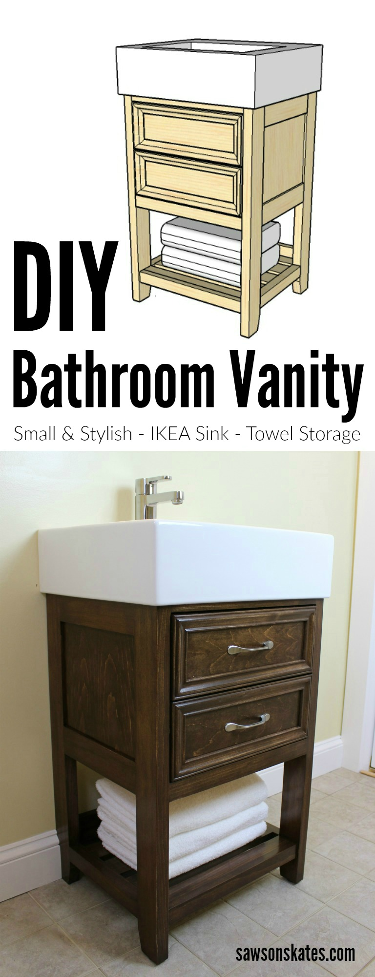 Looking for small DIY bathroom vanity ideas? Check out the plans for this DIY vanity designed to look like a small dresser. It features book-matched panels, faux drawers and an IKEA Yddingen sink. It's BIG on style, but fits in a small space!