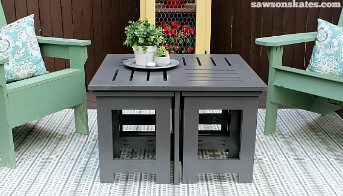 Easy DIY outdoor coffee table plan with 4 hidden side tables