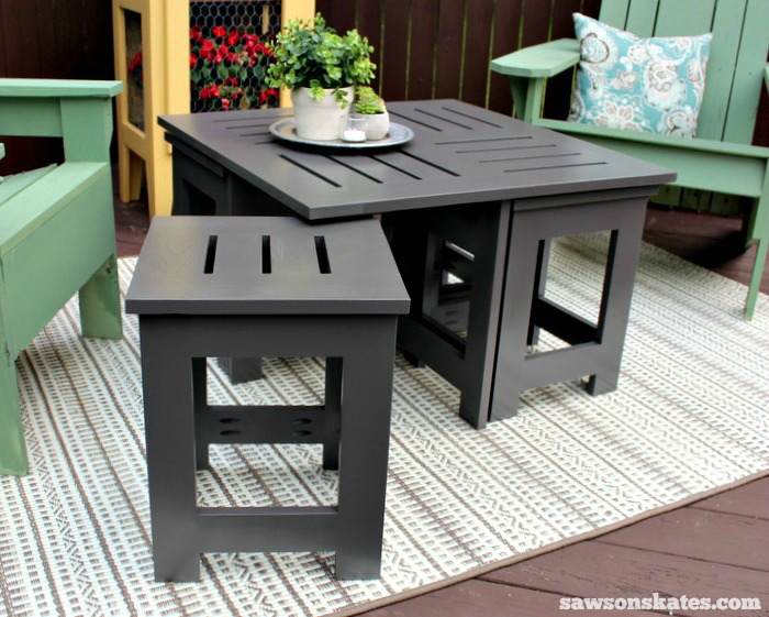Easy DIY Outdoor Coffee Table Plan With 4 Hidden Side Tables   Use One, Two