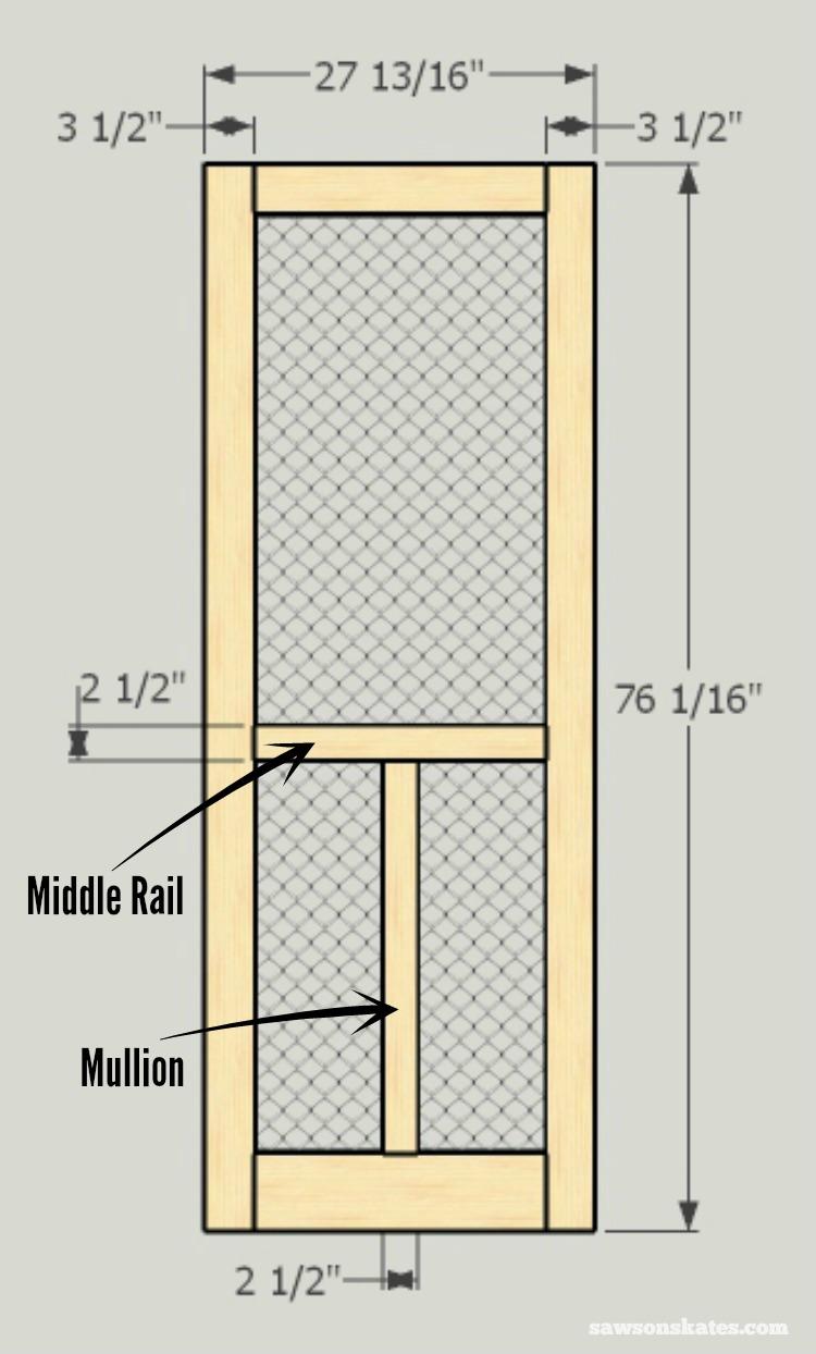 Looking for screen door ideas? Build your own wooden DIY screen door with these plans  sc 1 st  Saws on Skates & diy-screen-door-measurements-updated.jpg?resizeu003d7501244u0026sslu003d1