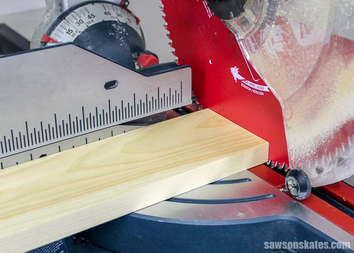 Using a miter saw to square the end of board.