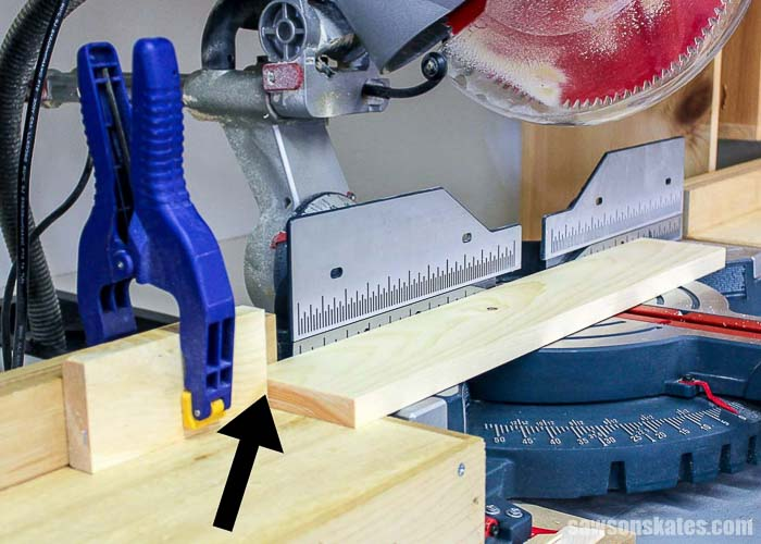 Set up a stop for repetitive miter saw cuts
