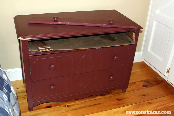 This small antique dresser is looking a little tired and worn.