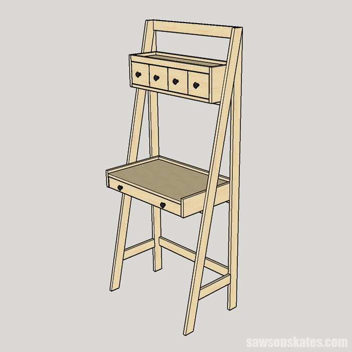 DIY ladder desk ready for work and storage. Perfect for a home office or doing homework and easy enough to build in a weekend.