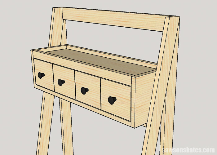 DIY ladder desk - install the cabinet