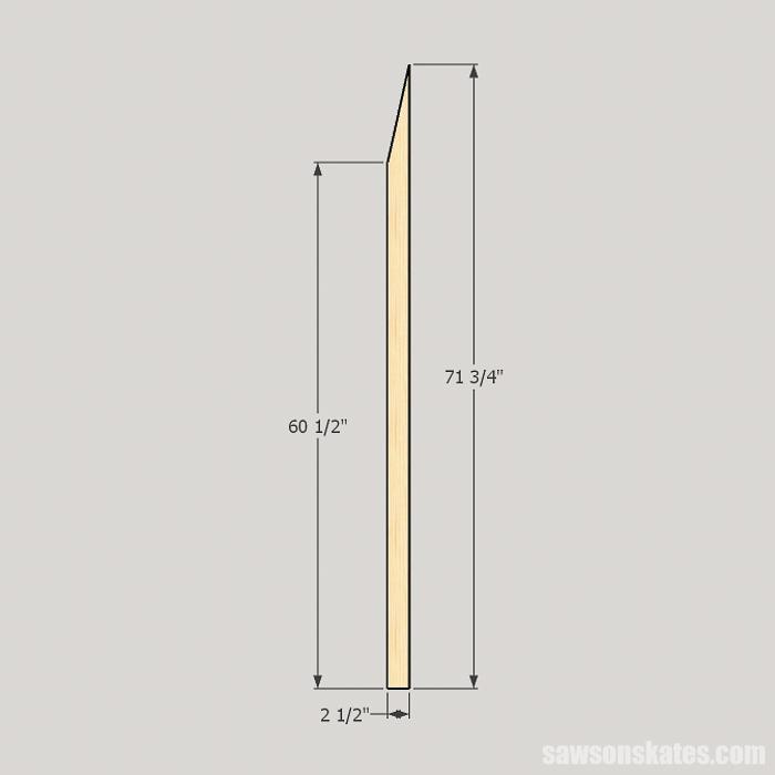 DIY ladder desk - cut the back legs