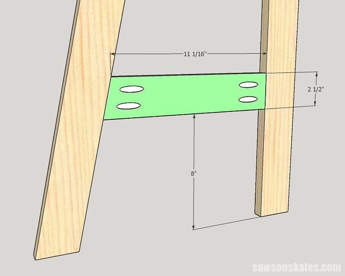 DIY ladder desk - cut and attach the side rails