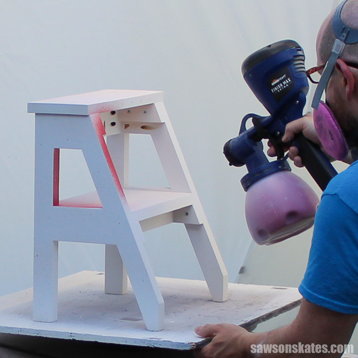 9 Paint Sprayer Mistakes - a spray shelter is the perfect place to spray DIY furniture projects.