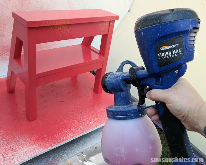 DIY Ladder Chair - spraying the ladder chair
