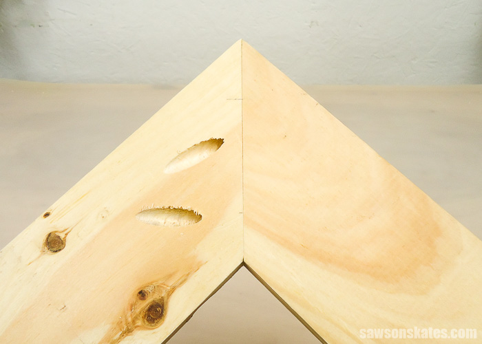Drilling pocket holes on miter joints - Here's a look at the completed joint with one pocket hole closer to the toe