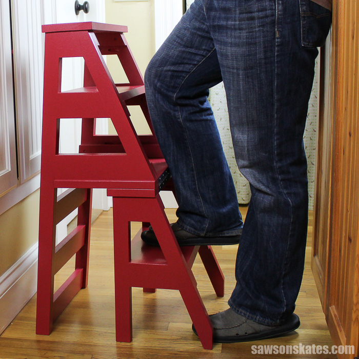 DIY Ladder Chair - stepping on ladder