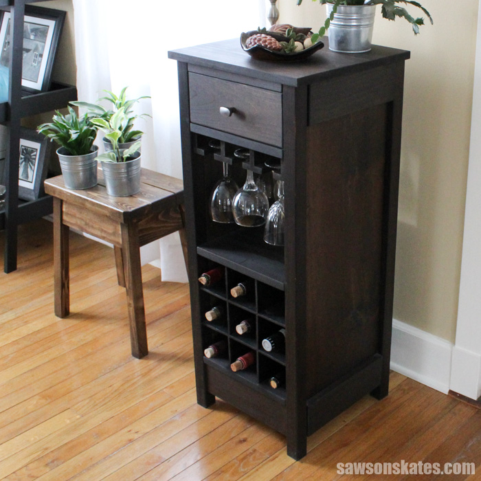 Diy wine cabinet Triangle Shaped This Diy Wine Cabinet Is Simple To Build Thanks To The Kreg Jig And Pocket Hole Saws On Skates Diy Wine Cabinet Displays Entertaining Essentials