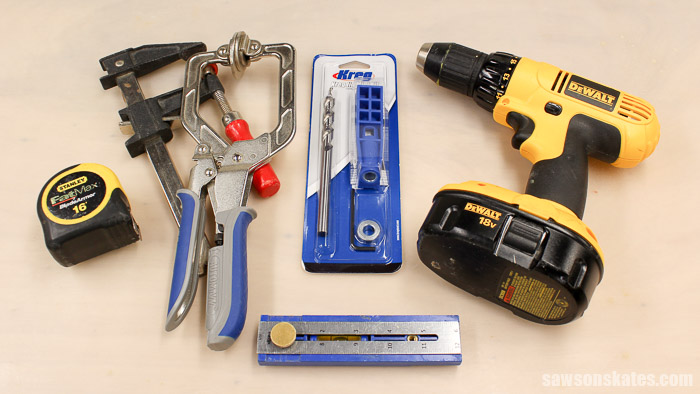 To use Kreg Mini pocket hole jig you'll need a drill, a Kreg wood project clamp and a tape measure. I think it's also really handy to have a bar clamp and a Kreg Multi-Mark. Oh, and of course you'll need the Kreg Mini Jig Kit!