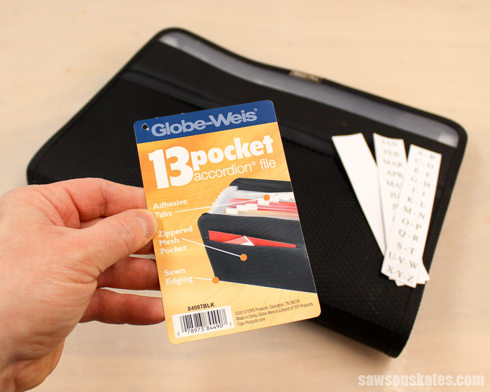 Sandpaper Storage Solution - 13 pocket accordion folder