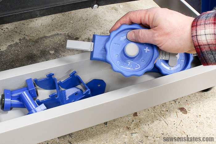 The cradles on the ends of the ultimate workbench provide a place a convenient place to store accessories like bench dogs, In-Line Clamps, Kreg Bench Clamps and Kreg Wood Project Clamps