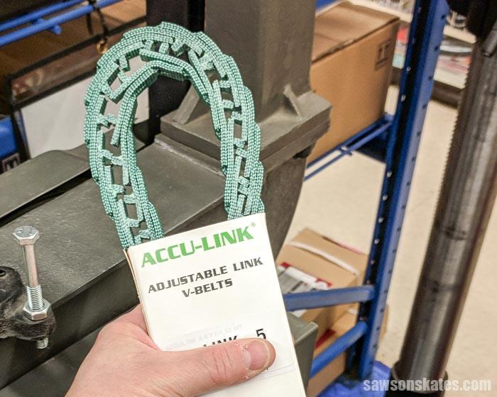 Bandsaw tips - replace your bandsaw v-belt with an adjustable link belt to reduce vibration