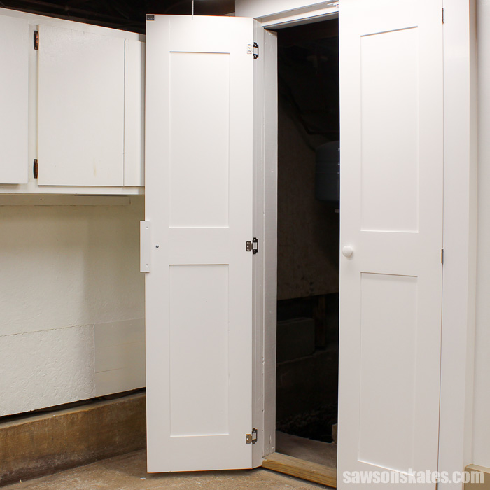 Make a Door with Pocket Holes - the skimpy trim would be replaced with appropriate sized trim