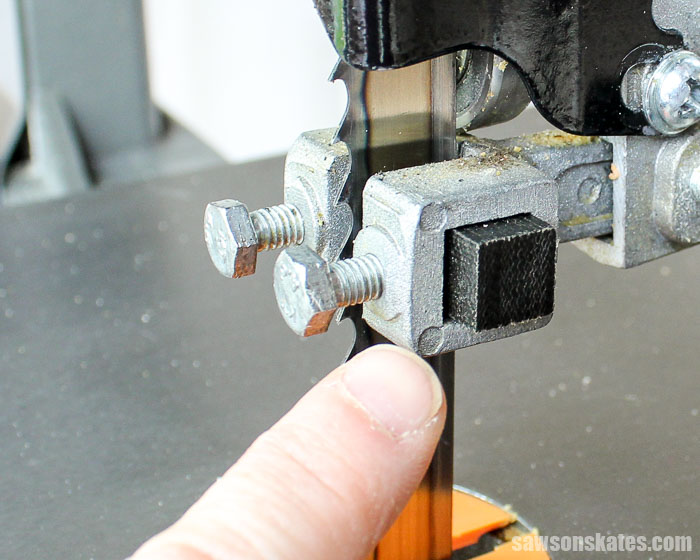 Bandsaw tips - replace metal guide blocks with non-metallic guide blocks or cool blocks to reduce friction and heat