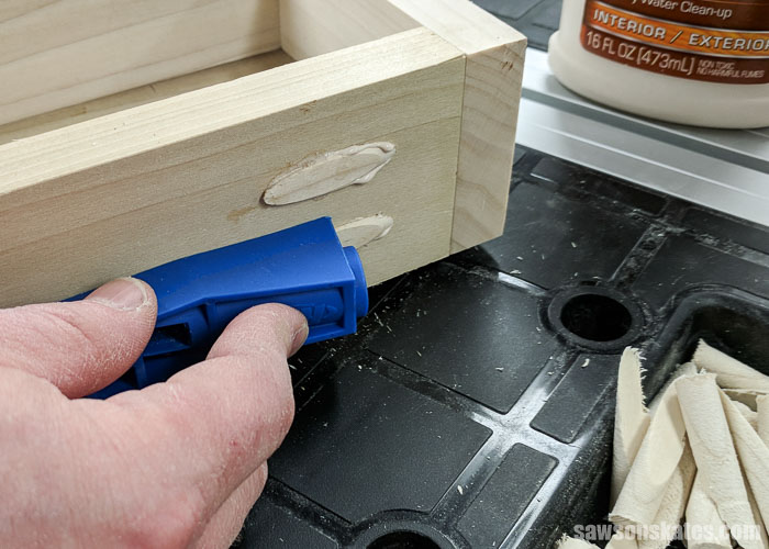 Ultimate Workbench for a Small Workshop - the pocket holes were filled with pocket hole plugs that were inserted with the Kreg Jig Mini