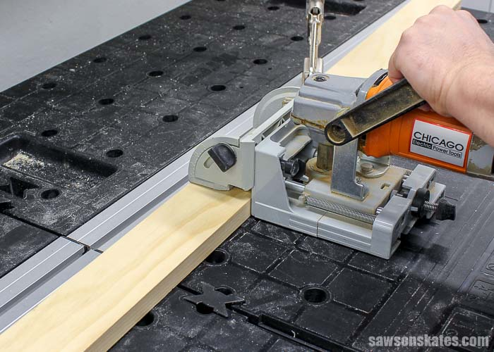 A biscuit joiner is used to cut biscuit slots to make DIY wood storm windows