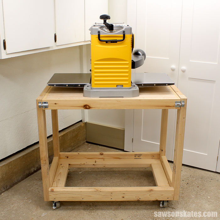 DIY Flip-Top Cart holding DeWALT Thickness Planer