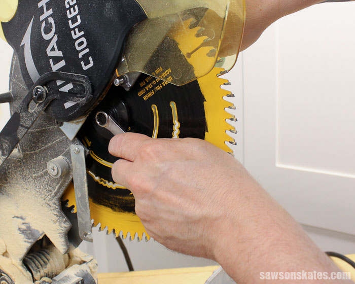 How to change blade on miter saw in 3 easy steps how to change the blade on a miter saw is something every diyer needs to know heres a quick overview of the 3 easy steps needed to replace a blade greentooth Gallery