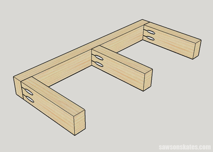Sketch of cleat to support floating shelves assembled with pocket holes
