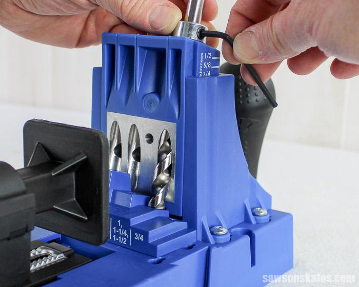 Prevent Rough Pocket Holes - Tighten the Kreg Jig depth collar with an Allen wrench