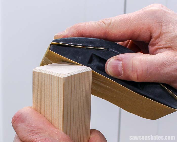 Sanding a bevel on the ends of furniture legs helps to prevent chipping