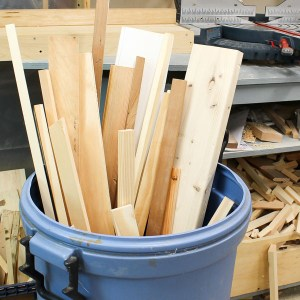 Scrap wood and cutoffs can be stored in a garbage can