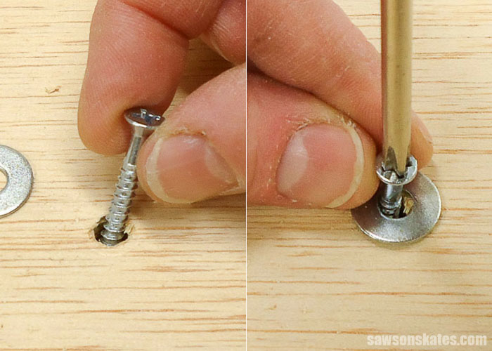A wood table top can be attached with a wood screw in an oversized hole