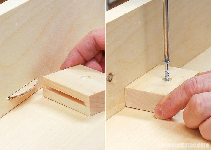 Use a wood screw to attach the DIY table top fastener to the wood table top