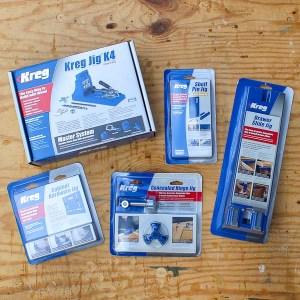 The Kreg Jig, Kreg Shelf Pin Jig, Kreg Drawer Slide Jig, Kreg Concelead Hinge Jig and the Kreg Cabinet Hardware Jig make building furniture and cabinets easier