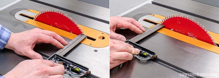 Make sure the blade is a square to the miter gauge slot when you buy a new table saw.