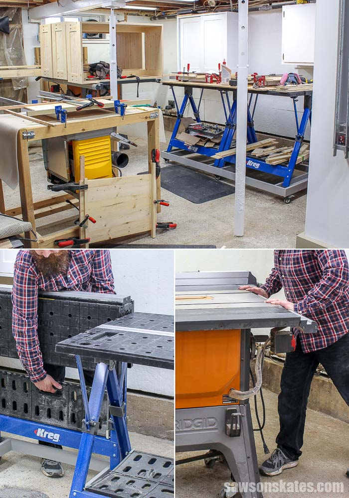 Folding a workbench and moving a table saw