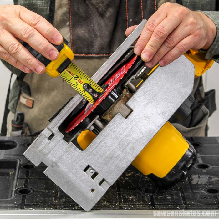 Measuring the right side of a circular saw to make a DIY circular saw crosscut jig