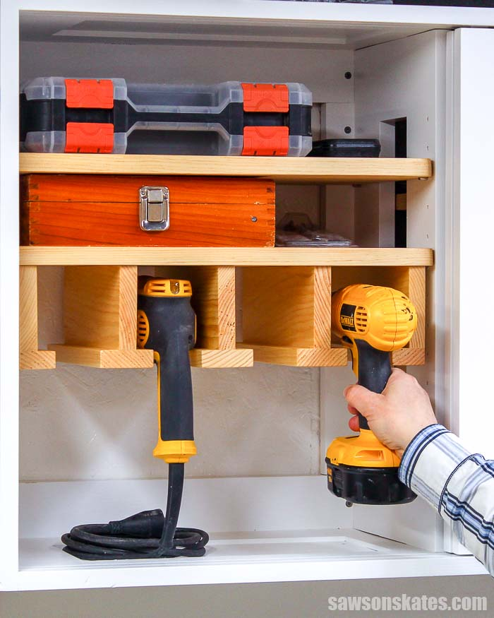 Diy Tool Storage Cabinet: DIY Cordless Drill Storage Rack (Free Plans + Video