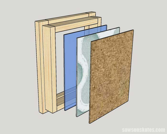 Sketch showing how to install the glass, artwork and cardboard in DIY custom size picture frames