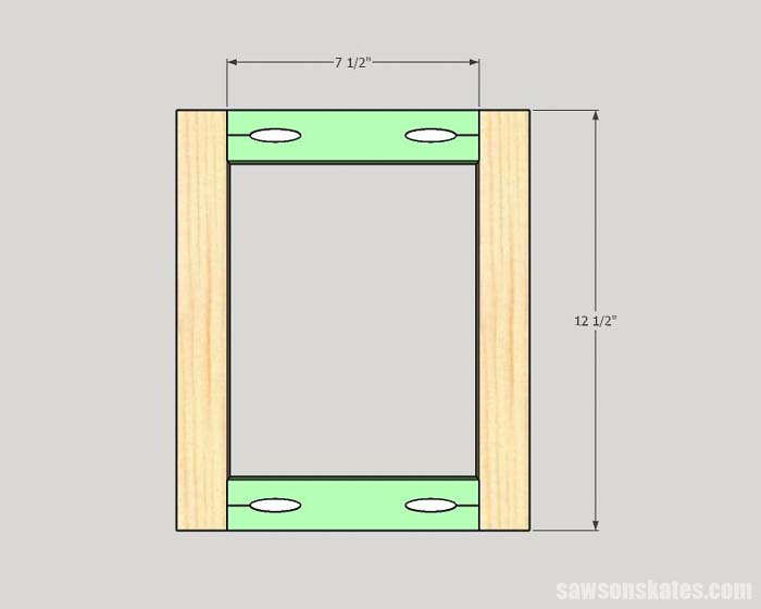 Sketch showing how to make a picture frame