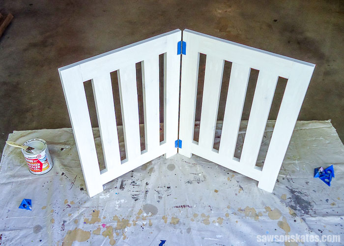 Primer has been applied to a DIY dog gate