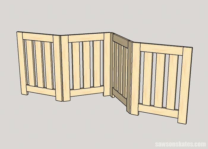 The free plans for this DIY pet gate can be customized for large door openings